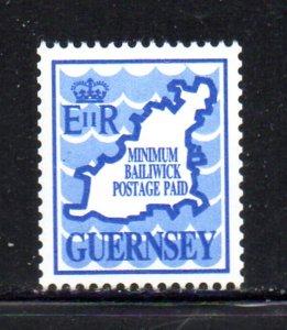 Guernsey Sc  431 Blue 1989 Map & Waves stamp mint NH