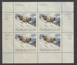 Canada, British Columbia, MNH 1995 Conservation Fund Sheet. Bighorn Sheep