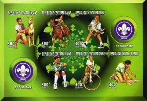 Central African Republic 1996 Sc#1147 Scouts/Dog/Cycling Sheetlet Imperf. MNH