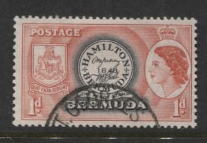 Bermuda - Scott 144 - QEII-Definative-1953 - VFU - Single 1d Stamp