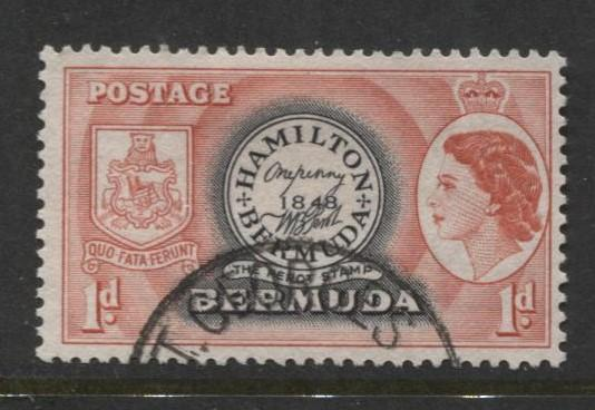 Bermuda - Scott 144 - QEII-Definative-1953 - VFU - Single 1d Stamp