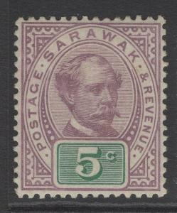 SARAWAK SG12 1891 5c PURPLE & GREEN MTD MINT