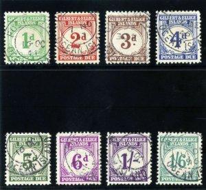 Gilbert & Ellice Is 1940 KGVI Postage Due set complete VFU SG D1-D8. Sc J1-J8.