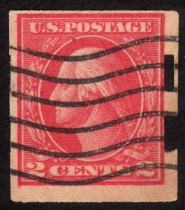 1916 US, 2c stamp, Used, George Washington, Sc 482A, Schermack perf