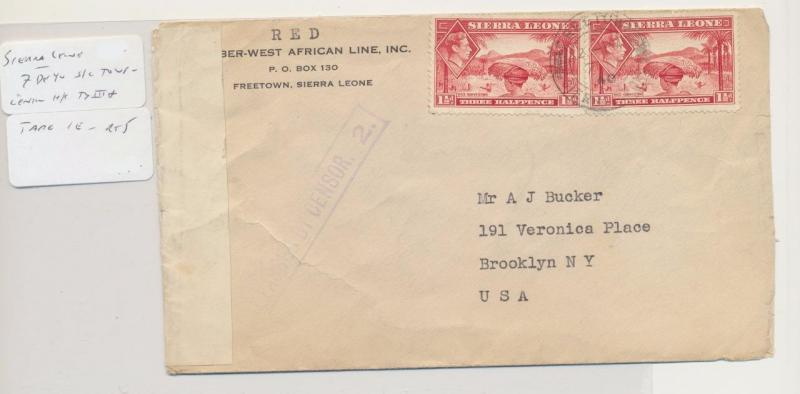 SIERRA LEONE -USA 1940 CENSOR(#2) COVER 2x1½d RATE (SEE BELOW)