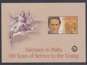 Malta # 1158, Salesians in Malta Centennial, Souvenir Sheet., Mint NH, 1/2 Cat..