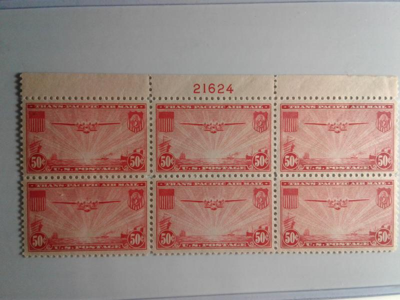 SCOTT # C22 MINT NEVER HINGED GEM AIR MAIL PLATE BLOCK OF 6 !! VERY DESIRABLE !