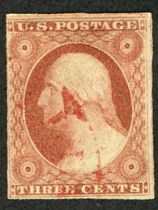 US #11 VF used, faintly canceled, faint red cancel, three super sized margins...