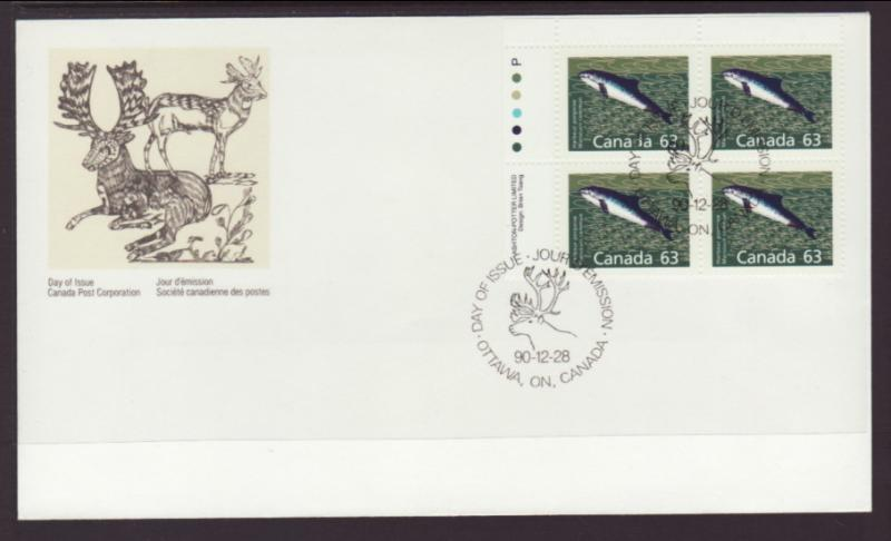 Canada 1176 Harbour Porpoise Plate Block Canada Post U/A FDC