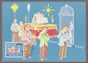 Malta Semi-Postal # B43 Christmas Procession Maxi Card - I Combine S/H