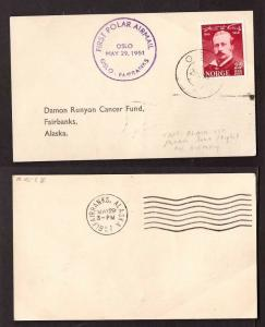 Norway, 1951 First Polar Airmail flown postcard to Alaska       -BF80