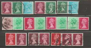 GB Machin  assorted pairs for study / interest  from 1971+ period