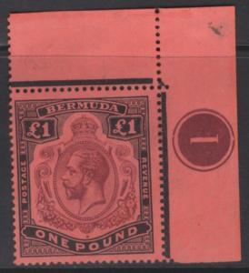 BERMUDA SG55a 1918 £1 PURPLE & BLACK/RED BREAK IN SCROLL MNH (MTD IN MARGIN)