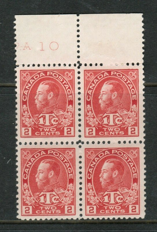Canada #MR3 Extra Fine Mint Never Hinged Plate #10 Block