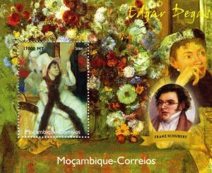 Mozambique 2004 Franz SCHUBERT Edgar Degas Paintings s/s Perforated Mint (NH)