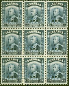 Sarawak 1945 BMA 15c Blue SG135 Fine MNH Block of 9