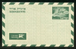 ISRAEL 1953 AIRLETTER 120 AG FLYING STAG ERROR PREPRINTED PAPERF FOLD LOT OF TWO