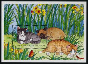 Turks & Caicos 1151 MNH Domestic Cats, Flowers