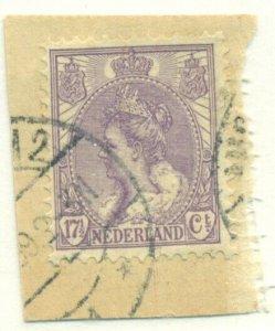 NETHERLANDS #71, Used on piece, Scott $11.50