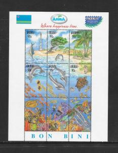 FISH - ARUBA #150 SHEET OF 9  MNH