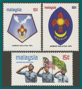 Malaysia 1974 Scout Jamboree, MNH 115-117,SG117-SG119