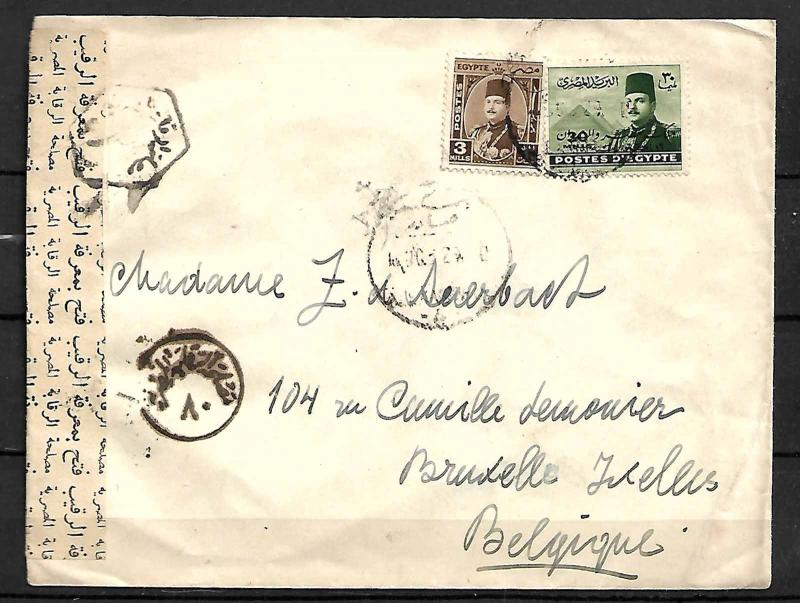 EGYPT STAMPS. c. 1944. CENSORED COVER TO BELGIUM