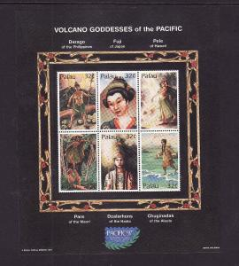 Palau-Scott#434-unused NH sheet-Volcano Goddess of the Pacific-1997-
