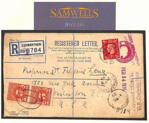 MS1395 1939 GB WALES MIXED REIGNS Registered Stationery*Carmarthen* USA 10c Dues