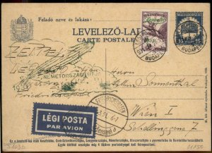 Hungary 1931 Graf Zeppelin 2p Flown Si103b Cover Debrecen 100814