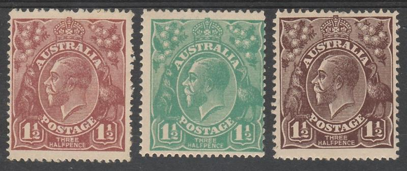 AUSTRALIA 1918 KGV 11/2D - 3 COLOURS SINGLE WMK