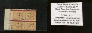 Canal Zone Scott 13 Mint Block of 4 Stamps CZSG Var 13.17 & PANAMA SELVAGE VAR.