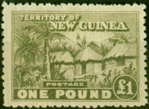 New Guinea 1925 £1 Dull Olive-Green SG136 Fine Lightly Mtd Mint