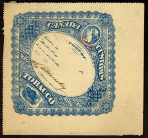 CANADA 1869 Blue VICTORIA AND BEAVER Manufactured Tobacco Tax Paid Revenue Used