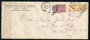UNITED STATES 1937 METROPOILITAN HOTEL MISSOURI SPECIAL DELIVERY COVER TO  NY