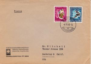 Switzerland 1948 Pro-Patria Sports Ski Hockey used on PPT cover to California