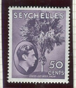 SEYCHELLES; 1938 early GVI issue Mint hinged Shade of 50c. Ordinary paper