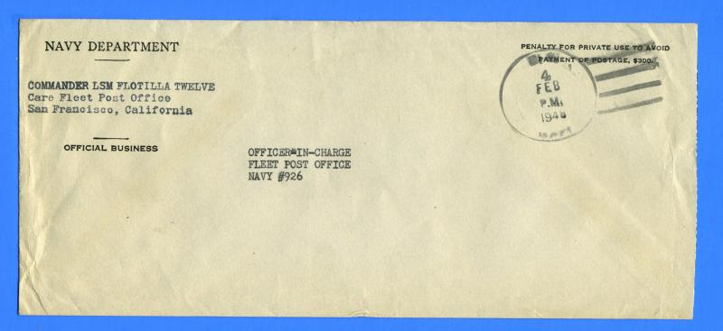 LSM Flotilla 12 Official Mail to Navy 926 Sub Base Guam February 4, 1945