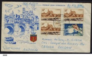 France 1955 Limoges First Day Cover to Brisbane Australia