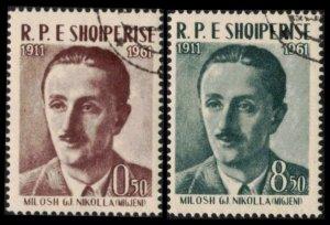 ALBANIA 1961 #598-599 USED CPL SET MILOSH G. NIKOLLA