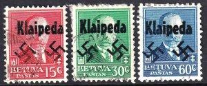 LITHUANIA KLAIPEDA OVERPRINTS x3 DIFFERENT #1 CDS F/VF TO VF SOUND #1