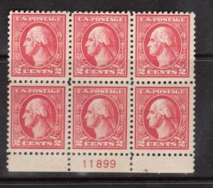 USA #528 VF/NH Plate Block Of Six