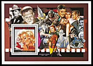Burkina Faso 1012-1014, MNH, Marilyn Monroe and Cinema History souvenir sheets