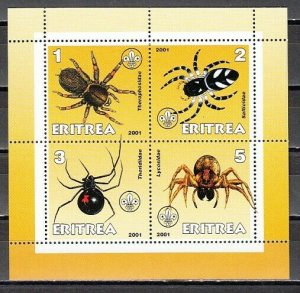 Eritrea, 2001 Cinderella issue. Spiders on a sheet of 4. *