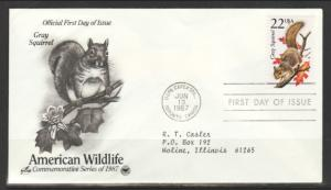 US Grey Squirrel 1987 PCS Typed FDC BIN