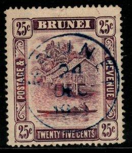 BRUNEI SG43a 1920 25c DEEP DULL PURPLE FINE USED