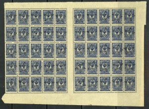 TRANSCAUCASIAN FEDERATED STATES 1923 10k STAR Ovpt GUTTER BLOCK of 50 Sc 1 MNH