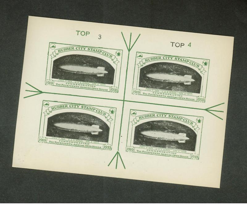 1933 USS Akron club cinderella proof sheet zeppelin