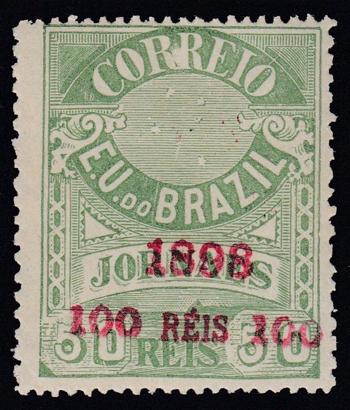 Brazil 1898 100r on 50r Green LM Mint. Scott 139