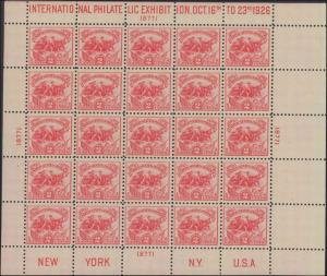 1926 United States #630, Complete Set, Sheet of 25, Never Hinged