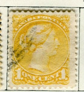 CANADA; 1870s early classic QV Small Head issue used 1c. value